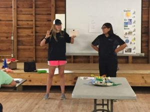 Two teen giving a presentation