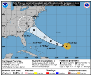 Image of Hurricane Florence track chart
