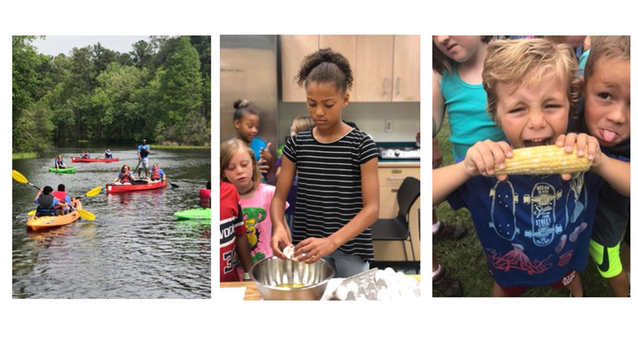 Three-photo banner with children kayaking cooking and eating corn on the cob