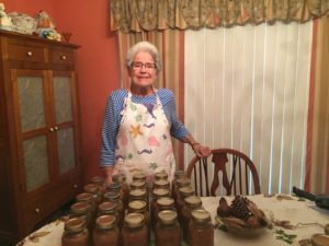 Woman with canning jars