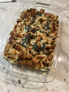 casserole with mushroom, spinach, and swiss