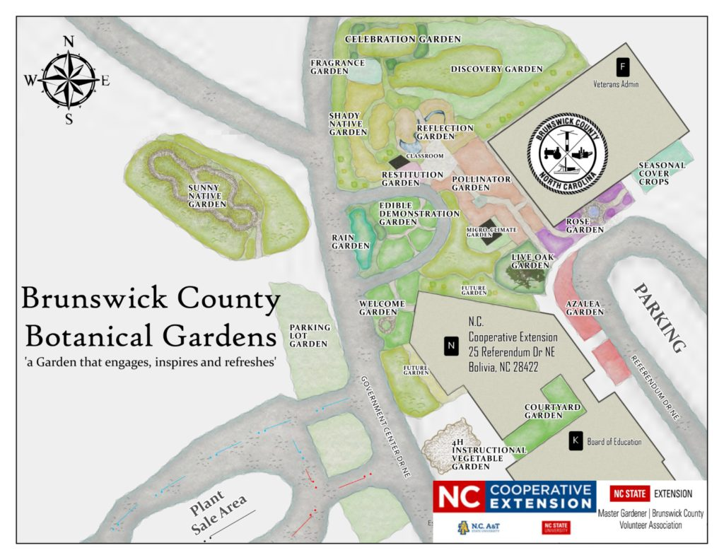 This image is a map of the Brunswick County Botanical Gardens. It shows the names and locations of the 14 gardens around the N.C. Cooperative Extension Center.