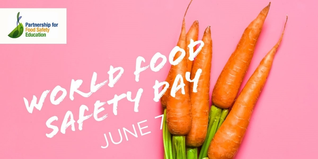 """pink background with carrots that says """"World Food Safety Day"""" June 7th"""