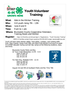 4-H Youth Volunteer Training Flyer. Rising 7th to 12th graders. June 8th and 9th at Brunswick County Cooperative Extension. Register at 4-H Online. Call or email Angie Lawrence for more information.