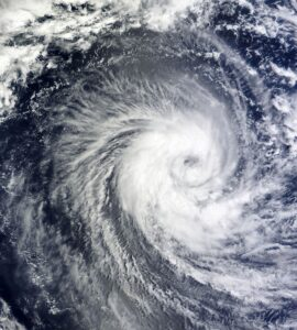 Aerial image of a hurricane