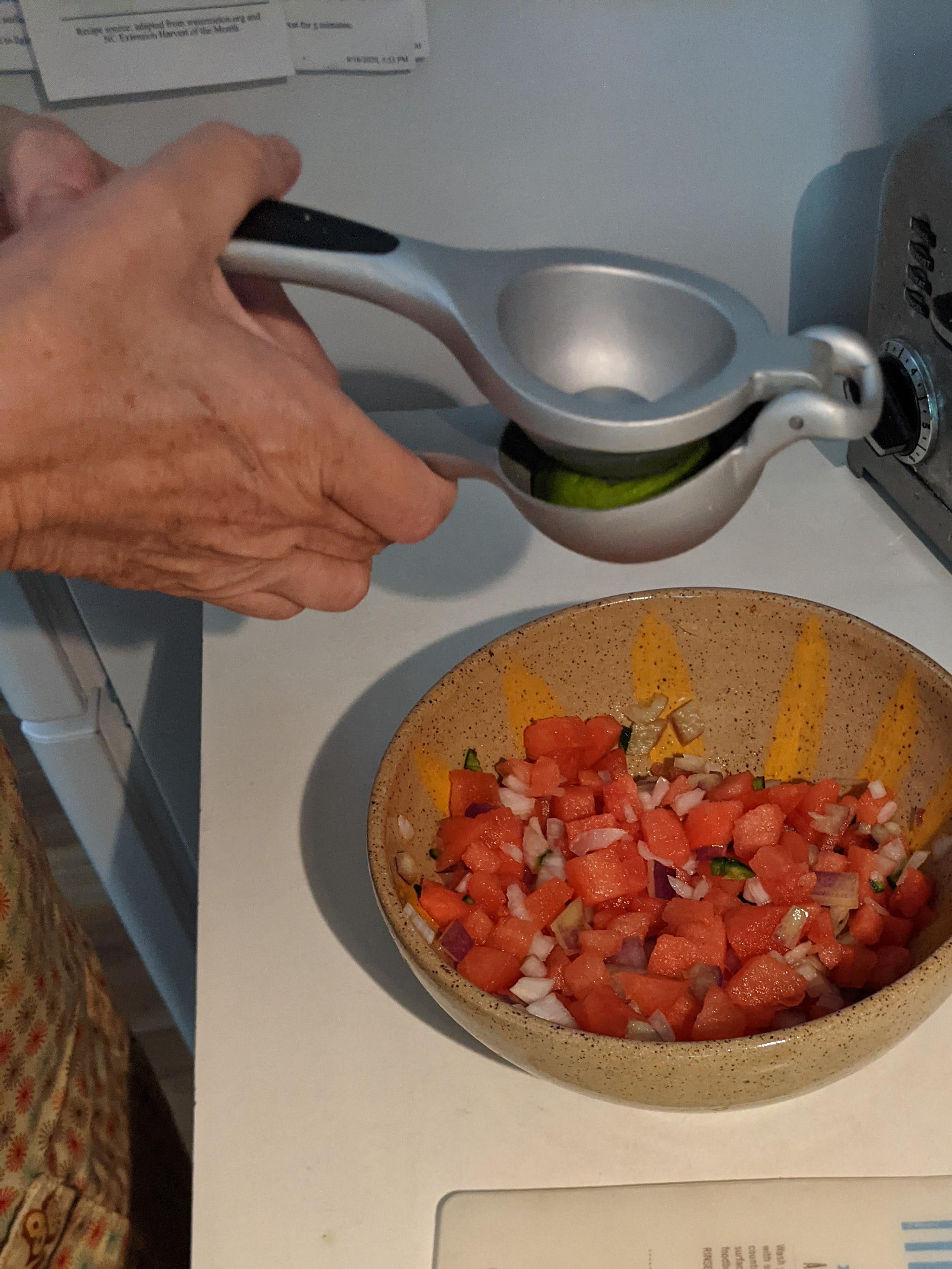 Watermelon Salsa, prepared by EMFV Jane Kulesza – use fresh or bottled lime juice